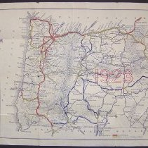 Image of State Highway department's Official Automobile Road Map of the State of Oregon Showing All Through Trunk Highways and Main Traveled Roads, With Mileages - PastPerfect Museum Maps Collection