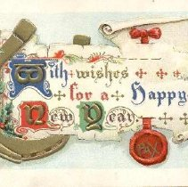 Image of With wishes for a happy New Year. PAX - PastPerfect Museum Postcard Collection