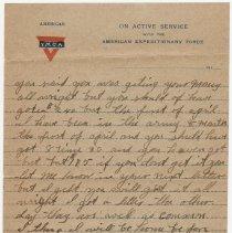 Image of 07_1992.80.1_april 1, 1919_pvt Grant Mcclellan To Wife (bessie Mcclellan)_p