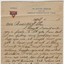 Image of 08_1992.80.1_april 4, 1919_pvt Grant Mcclellan To Wife (bessie Mcclellan)_p