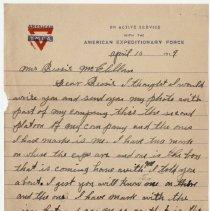 Image of 09_1992.80.1_april 10, 1919_pvt Grant Mcclellan To Wife (bessie Mcclellan)