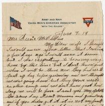 Image of 10_1992.80.1_june 7, 1919_pvt Grant Mcclellan To Wife (bessie Mcclellan)
