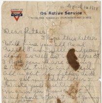 Image of 02_2011.69.7_april 10, 1918_pfc James Dixon, Jr To Father