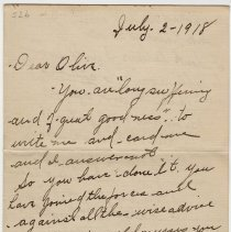 Image of 05_1999.79.3_july 2, 1918_m. Langley  To Olivia Hemphill_page 01