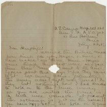 Image of 02_1999.79.3_july 22, 1918_i.l. Rishworth  To Florence Hemphill_page 01