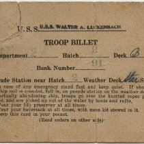 Image of Troop Billet Card