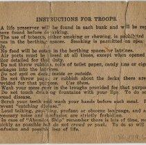Image of Troop Billet Card