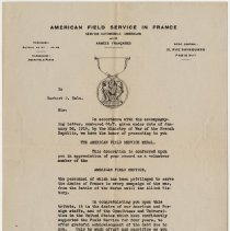 Image of American Field Service Medal Citation