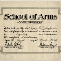 Image of School of Arms Completion Certificate