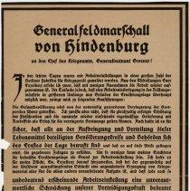 Image of von Hindenburg Proclamation Broadside