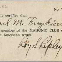 Image of Membership card of the Masonic Club of Third American Army