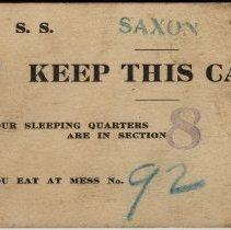Image of Billet Card for S.S. Saxon