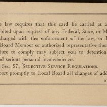 Image of Selective Service Classification Card
