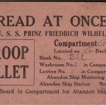 Image of Troop Billet Card for U.S.S. Prinz Friedrich Wilhelm