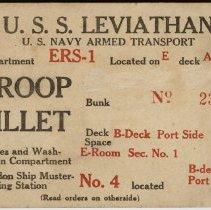 Image of Billet Card for U.S.S. Leviathan