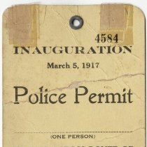 Image of Police Permit for 1917 Inauguration