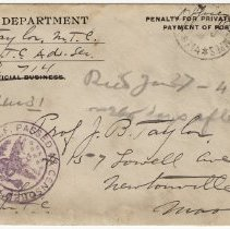 Image of December 31, 1918_Colonel B. Taylor To Father_Envelope