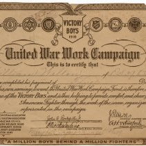 Image of Victory Boys United War Work Campaign Certificate