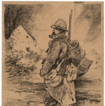 """Image of """"Un Poilu"""" on the Road from Soissons to Venizel"""
