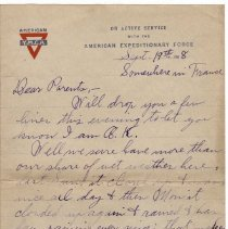 Image of 076_2015.162.4_reid Fields To Parents_september 19, 1918_page 01