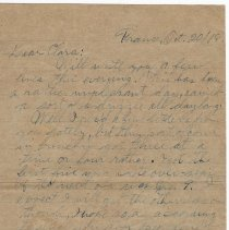 Image of 092_2015.162.4_reid Fields To Clara Wrasse_october 20, 1918_page 01