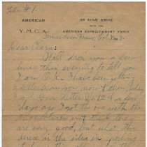 Image of 103_2015.162.4_reid Fields To Clara Wrasse_october 30, 1918_page 01