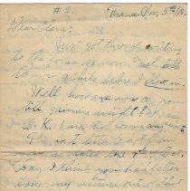 Image of 107_2015.162.4_reid Fields To Clara Wrasse_november 5, 1918_page 01