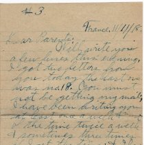 Image of 111_2015.162.4_reid Fields To Parents_november 11, 1918_page 01