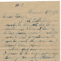 Image of 112_2015.162.4_reid Fields To Clara Wrasse_november 11, 1918_page 01