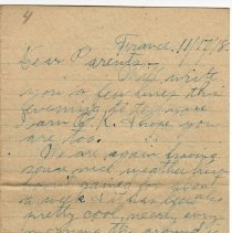 Image of 117_2015.162.4_reid Fields To Parents_november 17, 1918_page 01