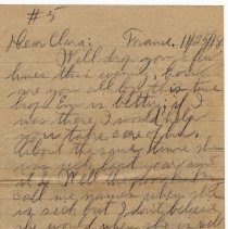 Image of 123_2015.162.4_reid Fields To Clara Wrasse_november 25, 1918_page 01