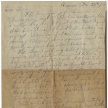Image of 125_2015.162.4_reid Fields To Clara Wrasse_november 28, 1918_page 01
