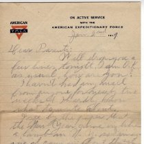 Image of 146_2015.162.4_reid Fields To Parents_january 2, 1919_page 01