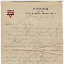 Image of 150_2015.162.4_reid Fields To Parents_january 7, 1919_page 01