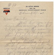 Image of 156_2015.162.4_reid Fields To Parents_january 15, 1919_page 01