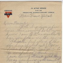 Image of 158_2015.162.4_reid Fields To Parents_january 20, 1919_page 01