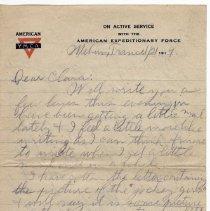 Image of 159_2015.162.4_reid Fields To Clara Wrasse_january 21, 1919_page 01