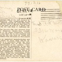 Image of 1977.13.16_back_clyde Chilson To A.f. Hewitt (sister)_may 14, 1918 (2)
