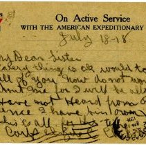 Image of 1977.13.22_front_clyde Chilson To A.f. Hewitt (sister)_july 18, 1918