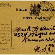 Image of 1977.13.27_back_clyde Chilson To A.f. Hewitt (sister)_september 29, 1918