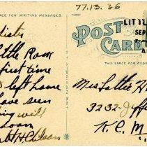 Image of 1977.13.36_back_robert Chilson To Lottie Hewitt (sister)_september 23, 1917