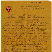 Image of 1977.13.41_robert Chilson To Sister_november 22, 1918_page 01
