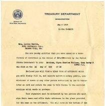 Image of 1977.13.46_h.c. Houlihan (treasury Department) To Lottie Hewitt_january 6,