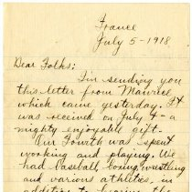 Image of 087_1982.202.1_charles Stevenson To Family_july 5, 1918_page 01