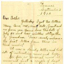 Image of 108_1982.202.1_charles Stevenson To Family_september 2, 1918_page 01
