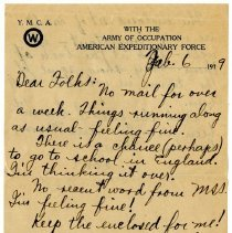 Image of 167_1982.202.1_charles Stevenson To Family_february 6, 1919_page 01