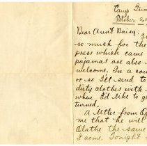 Image of 021_1982.202.1_charles Stevenson To Daisy (aunt)_october 8, 1917_page 01