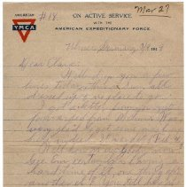 Image of 185_2015.162.4_reid Fields To Clara Wrasse_march 9, 1919_page 01
