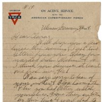 Image of 190_2015.162.4_reid Fields To Clara Wrasse_march 16, 1919_page 01
