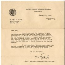 Image of Correspondence from United States Veterans Bureau